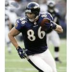Baltimore Ravens (2008) Todd Heap wearing the Baltimore Ravens home uniform in 2008