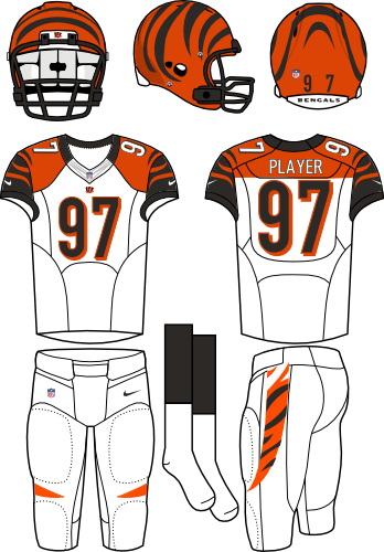 Cincinnati Bengals Uniform Primary White Uniform (2012-2020) - Orange helmet (with tiger stripes) with white jersey (accented with orange, black, and tiger stripes) and white pants. Manufactured by Nike.  SportsLogos.Net