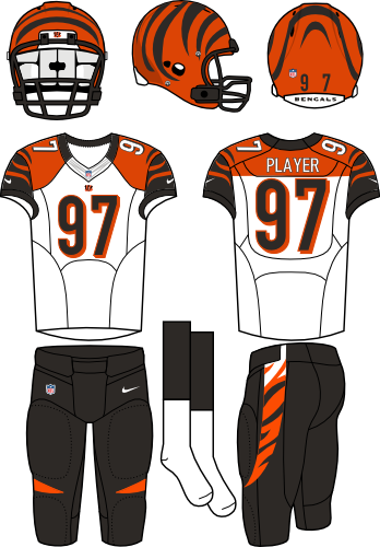 Cincinnati Bengals Uniform Primary White Uniform (2012-2020) - Orange helmet (with tiger stripes) with white jersey (accented with orange, black, and tiger stripes) and black pants. Manufactured by Nike.  SportsLogos.Net