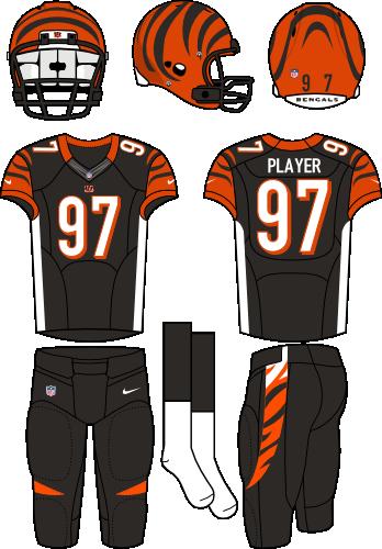 Cincinnati Bengals Uniform Primary Dark Uniform (2012-2020) - Orange helmet (with tiger stripes) with black jersey (accented with orange, white, and tiger stripes) and black pants. Manufactured by Nike.  SportsLogos.Net