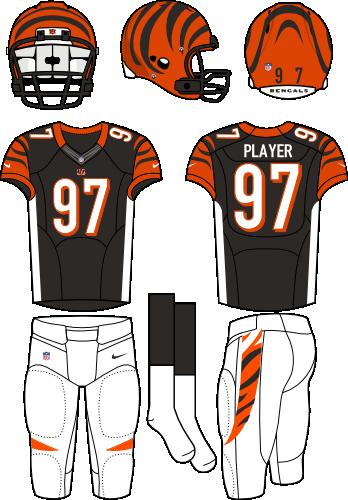 Cincinnati Bengals Uniform Primary Dark Uniform (2012-2020) - Orange helmet (with tiger stripes) with black jersey (accented with orange, white, and tiger stripes) and white pants. Manufactured by Nike. SportsLogos.Net