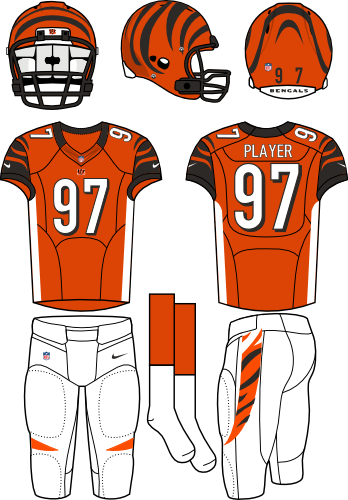 Cincinnati Bengals Uniform Alternate Uniform (2012-2020) - Orange helmet (with tiger stripes) with orange jersey (accented with black, white, and tiger stripes) and white pants. Manufactured by Nike.  SportsLogos.Net