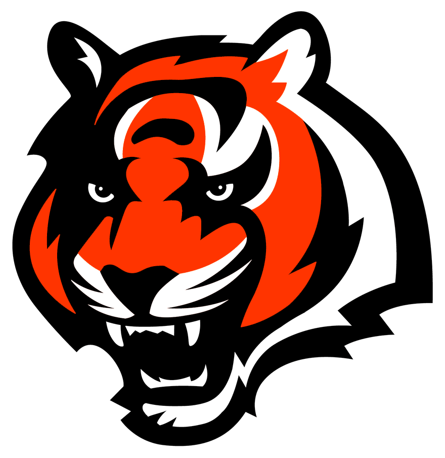 Cincinnati Bengals Logo Primary Logo (2002-2003) - The Cincinnati Bengals introduced a modern new look in 1997 when they developed and released their first true primary logo since their shift to the NFL. The logo showed the head of a bengal tiger in orange with black and white striping with a fierce look on its face. The Bengals retained this logo in 2002 but tweaked the shade of orange used. Following the 2003 season this logo was reclassified as an alternate logo and continued to be used by the Bengals. SportsLogos.Net