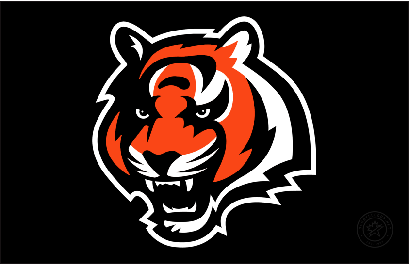 Cincinnati Bengals Logo Primary Dark Logo (1997-2001) - The Cincinnati Bengals introduced a modern new look in 1997 when they developed and released their first true primary logo since their shift to the NFL. The logo showed the head of a bengal tiger in orange with black and white striping with a fierce look on its face. The Bengals retained this logo in 2002 but tweaked the shade of orange used. SportsLogos.Net