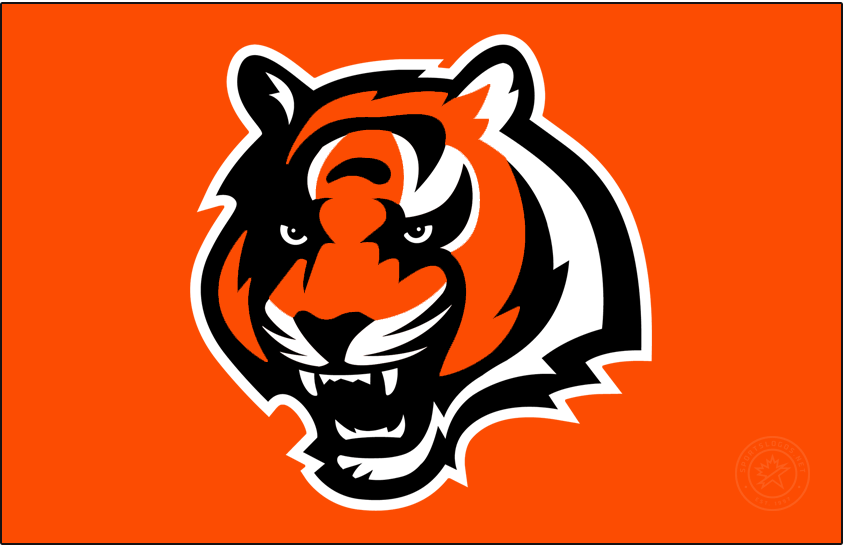 Cincinnati Bengals Logo Primary Dark Logo (2002-2003) - The Cincinnati Bengals introduced a modern new look in 1997 when they developed and released their first true primary logo since their shift to the NFL. The logo showed the head of a bengal tiger in orange with black and white striping with a fierce look on its face. The Bengals retained this logo in 2002 but tweaked the shade of orange used. Following the 2003 season this logo was reclassified as an alternate logo and continued to be used by the Bengals. SportsLogos.Net