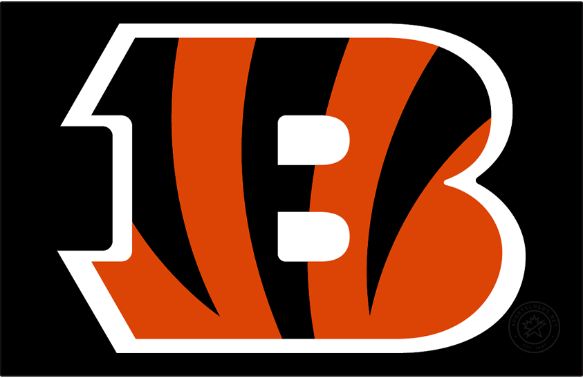 Cincinnati Bengals Logo Primary Dark Logo (2021-Pres) - The Cincinnati Bengals primary logo consists of a large letter B in orange with three black tiger stripes incorporated into the design making its way down from the top of the letter. Originally introduced in 2004, the Bengals darkened the shade of orange used in their logos (to match the orange they'd already been using on their on-field jerseys since 2012) when they re-designed their uniforms in 2021. SportsLogos.Net