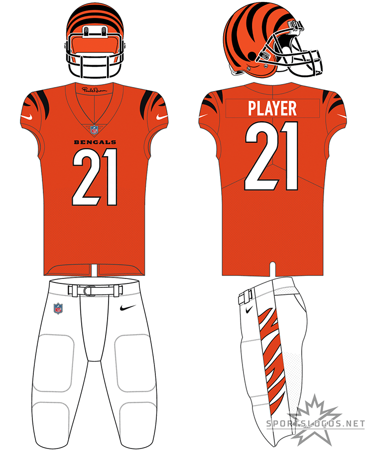 Cincinnati Bengals Uniform Alternate Uniform (2021-Pres) - The Cincinnati Bengals redesigned all three of their uniforms for the 2021 NFL season. Worn as an alternate uniform, the Bengals went with an orange jersey with black and orange striping on the sleeves, white numbers trimmed in black, a plain orange collar featuring the signature of founder Paul Brown in black on the inside, matching white pants with orange tiger striping on the side, and their familiar orange helmet with black striping. SportsLogos.Net