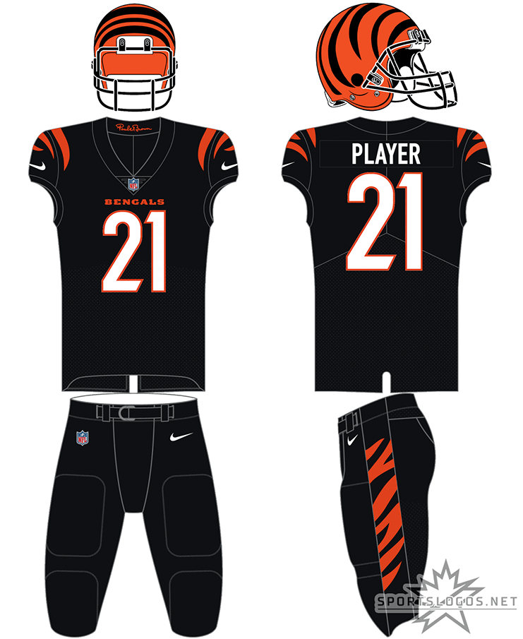 Cincinnati Bengals Uniform Primary Dark Uniform (2021-Pres) - The Cincinnati Bengals redesigned all three of their uniforms for the 2021 NFL season. For home games, the Bengals wore a black uniform with black and orange striping on the sleeves, white numbers trimmed in orange, a plain black collar featuring the signature of founder Paul Brown in orange on the inside, matching black pants with black and orange tiger striping on the side, and their familiar orange helmet with black striping. SportsLogos.Net