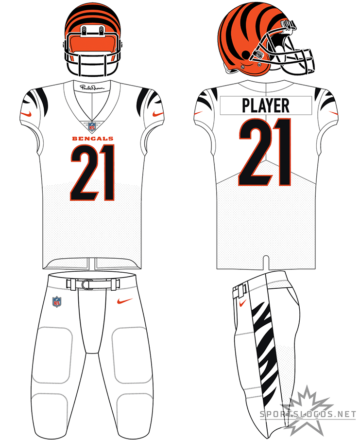 Cincinnati Bengals Uniform Primary White Uniform (2021-Pres) - The Cincinnati Bengals redesigned all three of their uniforms for the 2021 NFL season. For road games, the Bengals wore a white uniform with black and white striping on the sleeves, black numbers trimmed in orange, a plain white collar featuring the signature of founder Paul Brown on the inside, white pants with black and white tiger striping on the side, and their familiar orange helmet with black striping. SportsLogos.Net