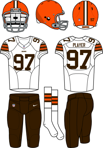 Cleveland Browns Uniform Road Uniform (2013-2014) - Orange helmet with white jersey and brown pants. Manufactured by Nike.
