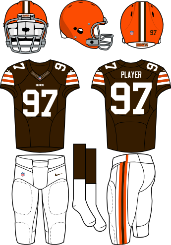 Cleveland Browns Uniform Home Uniform (2013-2014) - Orange helmet with brown jersey and white pants. Manufactured by Nike.