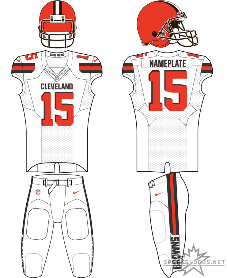 Cleveland Browns Uniform Road Uniform (2015-Pres) - Orange helmet, white jersey with brown trim, white pants. Ocassionally worn with brown or orange pants SportsLogos.Net