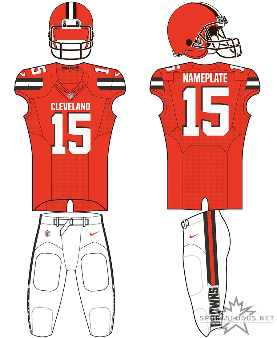 Cleveland Browns Uniform Alternate Uniform (2015-2016) - Orange helmet, orange jersey with brown trim, white pants. SportsLogos.Net