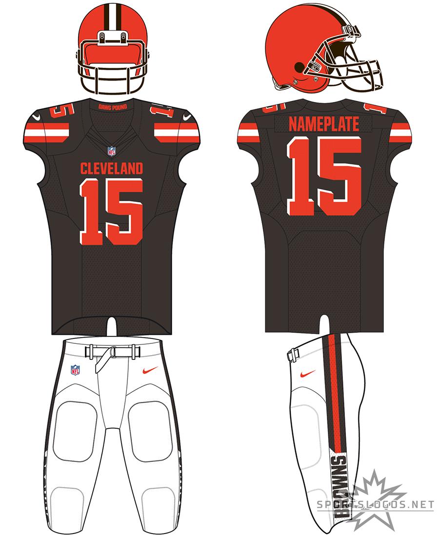 Cleveland Browns Uniform Alternate Uniform (2019-Pres) - Orange helmet, brown jersey with orange trim, white pants SportsLogos.Net