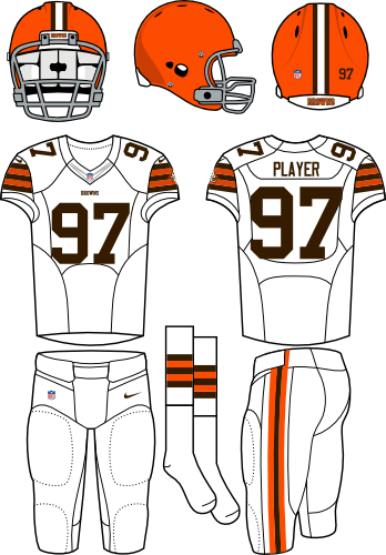 Cleveland Browns Uniform Road Uniform (2012) - Orange helmet with white jersey and white pants. Manufactured by Nike. SportsLogos.Net