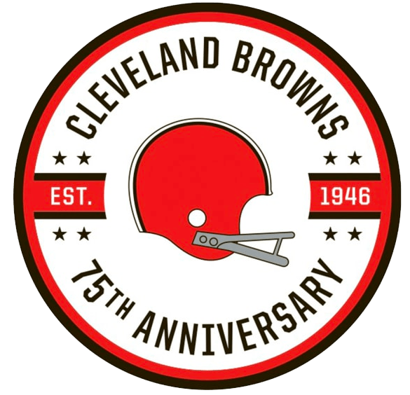 Cleveland Browns Logo Anniversary Logo (2021) - The Cleveland Browns celebrate their 75th anniversary in 2021 with a commemorative logo featuring the club's familiar plain orange helmet with original grey facemask within a brown and orange circle. There are eight stars on the logo, four for each AAFC championship and four for each NFL championship. SportsLogos.Net