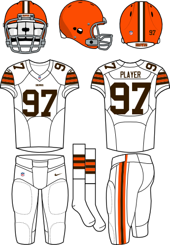 Cleveland Browns Uniform Road Uniform (2013-2014) - Orange helmet with white jersey and white pants. Manufactured by Nike.