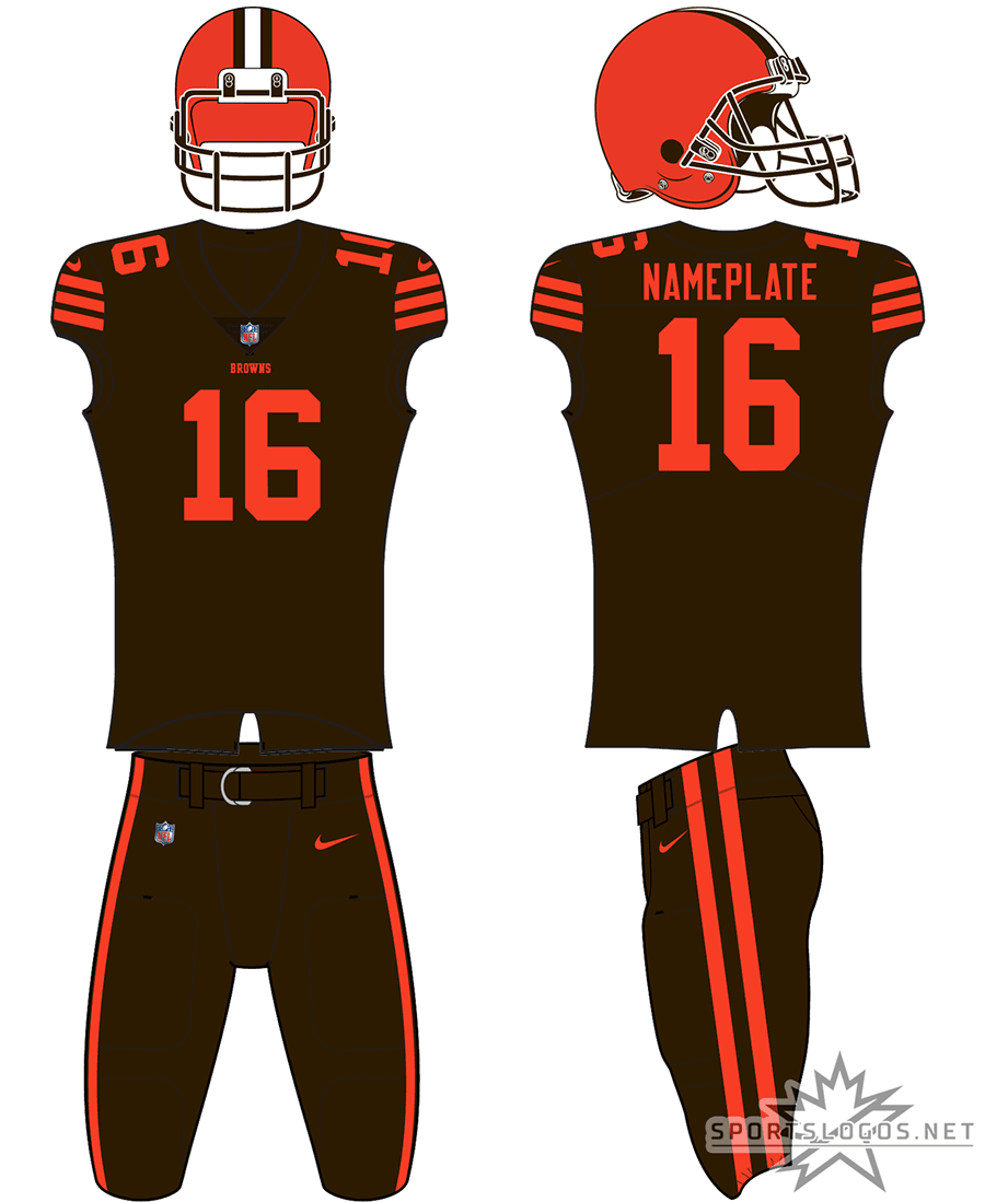 Cleveland Browns Uniform Alternate Uniform (2018) - Orange helmet, brown jersey with orange trim, brown pants. Cleveland Browns ColorRush uniform SportsLogos.Net