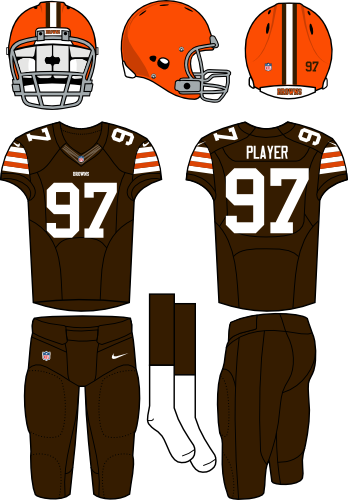 Cleveland Browns Uniform Home Uniform (2013-2014) - Orange helmet with brown jersey and brown pants. Manufactured by Nike.