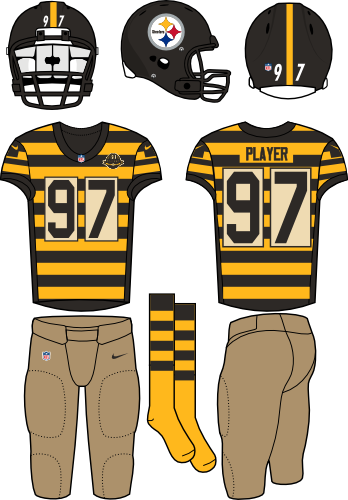 Pittsburgh Steelers Uniform Throwback Uniform (2012-2016) - Black helmet (primary logo on right side of helmet) with striped black and yellow jersey and light brown pants. Throwback era is 1934. Manufactured by Nike. SportsLogos.Net