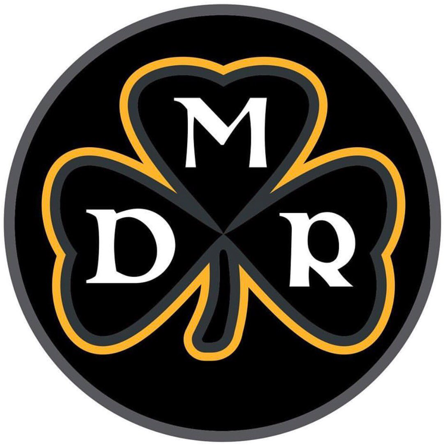 Pittsburgh Steelers Logo Memorial Logo (2017) - Memorial patch for owner Dan Rooney. A black, grey, and gold clover with the initials D M R inside a circle.  SportsLogos.Net