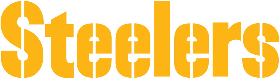 Pittsburgh Steelers Logo Wordmark Logo (1968-Pres) - Steelers stencil in gold SportsLogos.Net