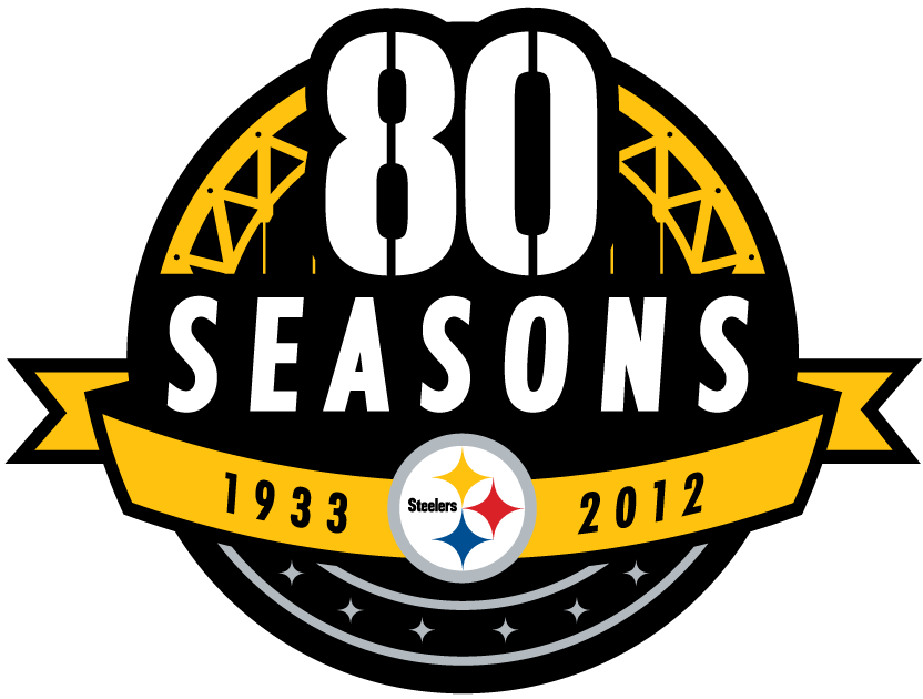 Pittsburgh Steelers Logo Anniversary Logo (2012) - Pittsburgh Steelers 80 Seasons logo - used to celebrate the Steelers 80th season in the NFL. SportsLogos.Net