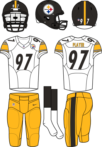 Pittsburgh Steelers Uniform Road Uniform (2012-Pres) - Black helmet (primary logo on right side of helmet) with white jersey (accented in yellow) and yellow pants. Manufactured by Nike. SportsLogos.Net