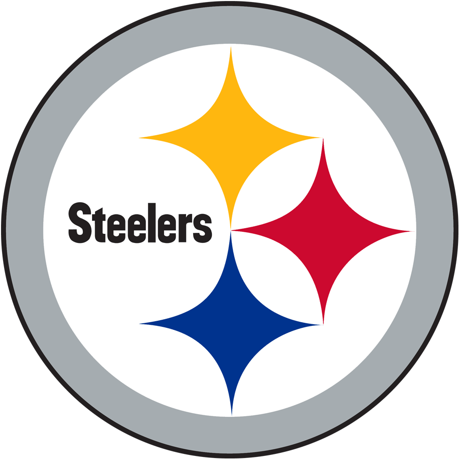 Pittsburgh Steelers Logo Primary Logo (2002-Pres) - Yellow, red, and blue diamonds with Steelers inside a grey circle. SportsLogos.Net