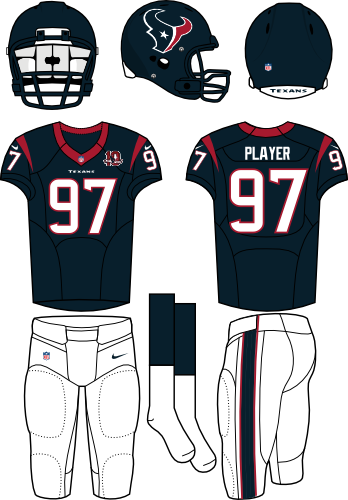 Houston Texans Uniform Home Uniform (2012) - Steel blue helmet (primary logo on the side) with steel blue jersey (accented in red) and white pants. Manufactured by Nike. SportsLogos.Net