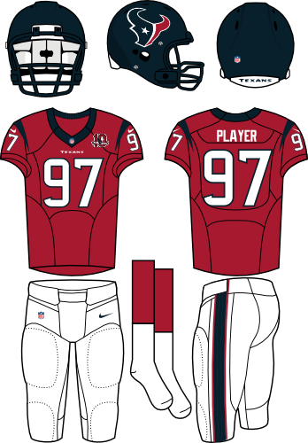 Houston Texans Uniform Alternate Uniform (2012) - Steel blue helmet (primary logo on the side) with red jersey (accented in steel blue) and white pants. Manufactured by Nike. SportsLogos.Net