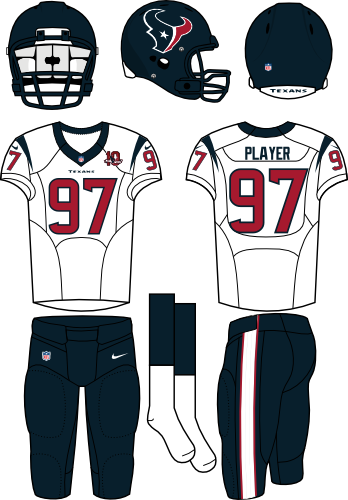 Houston Texans Uniform Road Uniform (2012) - Steel blue helmet (primary logo on the side) with white jersey (accented in steel blue) and steel blue pants. Manufactured by Nike. SportsLogos.Net