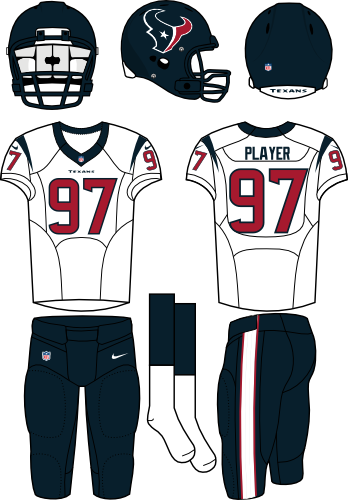 Houston Texans Uniform Road Uniform (2013-Pres) - Steel blue helmet (primary logo on the side) with white jersey (accented in steel blue) and steel blue pants. Manufactured by Nike.  SportsLogos.Net