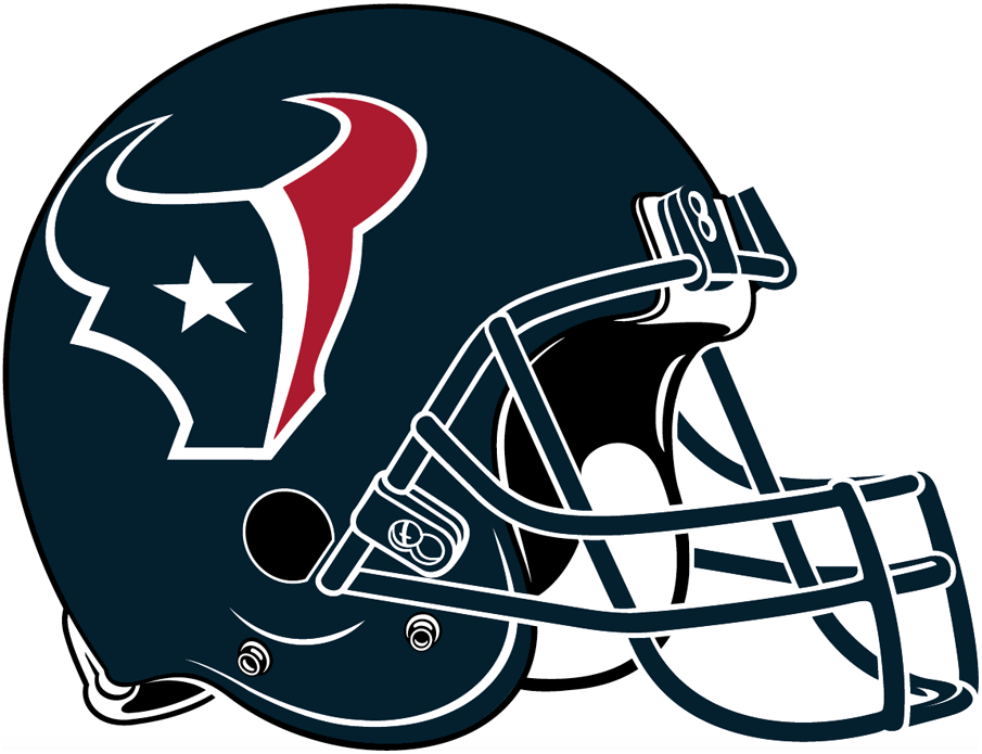 Houston Texans Helmet Helmet (2002-Pres) - Midnight blue helmet with a red, white and midnight blue steer logo, midnight blue facemask   SportsLogos.Net