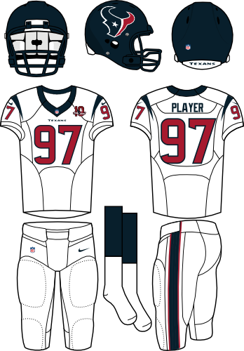 Houston Texans Uniform Road Uniform (2012) - Steel blue helmet (primary logo on the side) with white jersey (accented in steel blue) and white pants. Manufactured by Nike. SportsLogos.Net