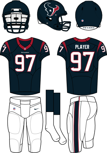 Houston Texans Uniform Home Uniform (2013-Pres) - Steel blue helmet (primary logo on the side) with steel blue jersey (accented in red) and white pants. Manufactured by Nike. SportsLogos.Net