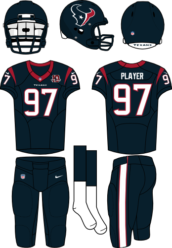 Houston Texans Uniform Home Uniform (2012) - Steel blue helmet (primary logo on the side) with steel blue jersey (accented in red) and steel blue pants. Manufactured by Nike. SportsLogos.Net