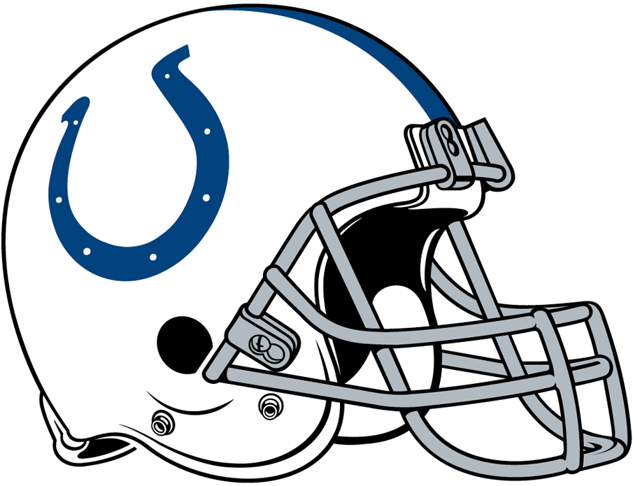Indianapolis Colts Helmet Helmet (2004-Pres) - White helmet, dark blue horseshoe and stripe with grey facemask SportsLogos.Net