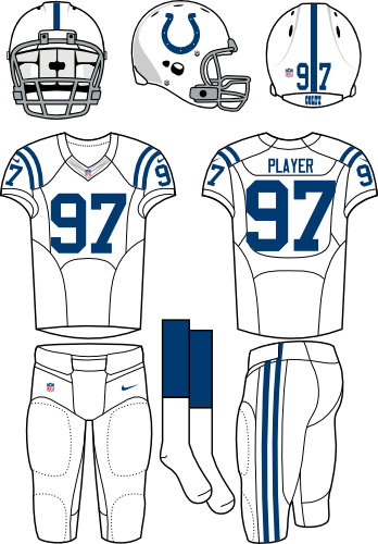 Indianapolis Colts Uniform Road Uniform (2012-Pres) - White helmet (primary logo on the side) with white jersey and white pants. Manufactured by Nike. SportsLogos.Net