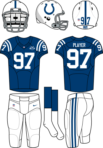 Indianapolis Colts Uniform Home Uniform (2013) - White helmet (primary logo on the side) with blue jersey and white pants. Manufactured by Nike. Patch added for 2013 only. SportsLogos.Net