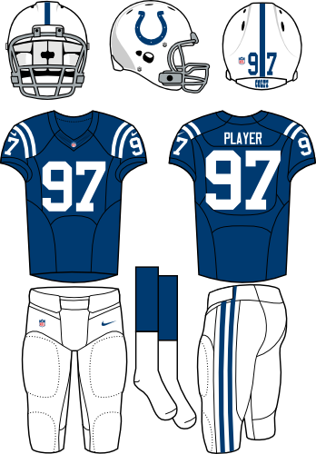 Indianapolis Colts Uniform Home Uniform (2012-Pres) - White helmet (primary logo on the side) with blue jersey and white pants. Manufactured by Nike. SportsLogos.Net