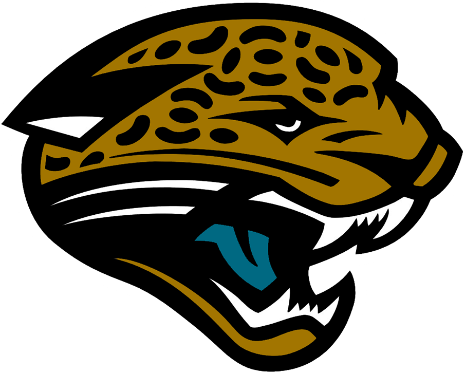 Jacksonville Jaguars Logo Primary Logo (2002-2012) - The original Jacksonville Jaguars logo featured a gold jaguar head with a splash of teal on its tongue and a black pattern on the jaguar's skin. The Jaguars used this logo from their inaugural season in 1995 right up through 2012 with an adjustment to the shade of gold made in 2002. SportsLogos.Net