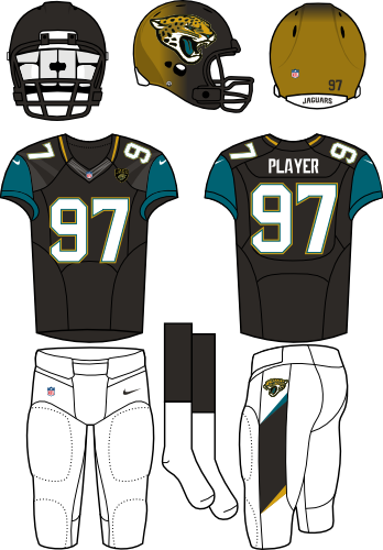 Jacksonville Jaguars Uniform Home Uniform (2013-2017) - Black/gold fading helmet (with primary logo on the sides) with black jersey (with teal shoulders) and white pants. Manufactured by Nike. SportsLogos.Net