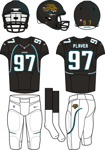 Jacksonville Jaguars Uniform Home Uniform (2012) - Black helmet with teal flake (primary logo on the sides) with black jersey and white pants. Manufactured by Nike. SportsLogos.Net