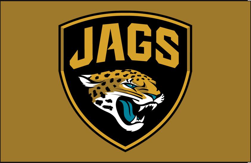 Jacksonville Jaguars Logo Alternate Logo (2013-Pres) - Jacksonville Jaguars Shield logo on gold, only version with the extra black outline SportsLogos.Net