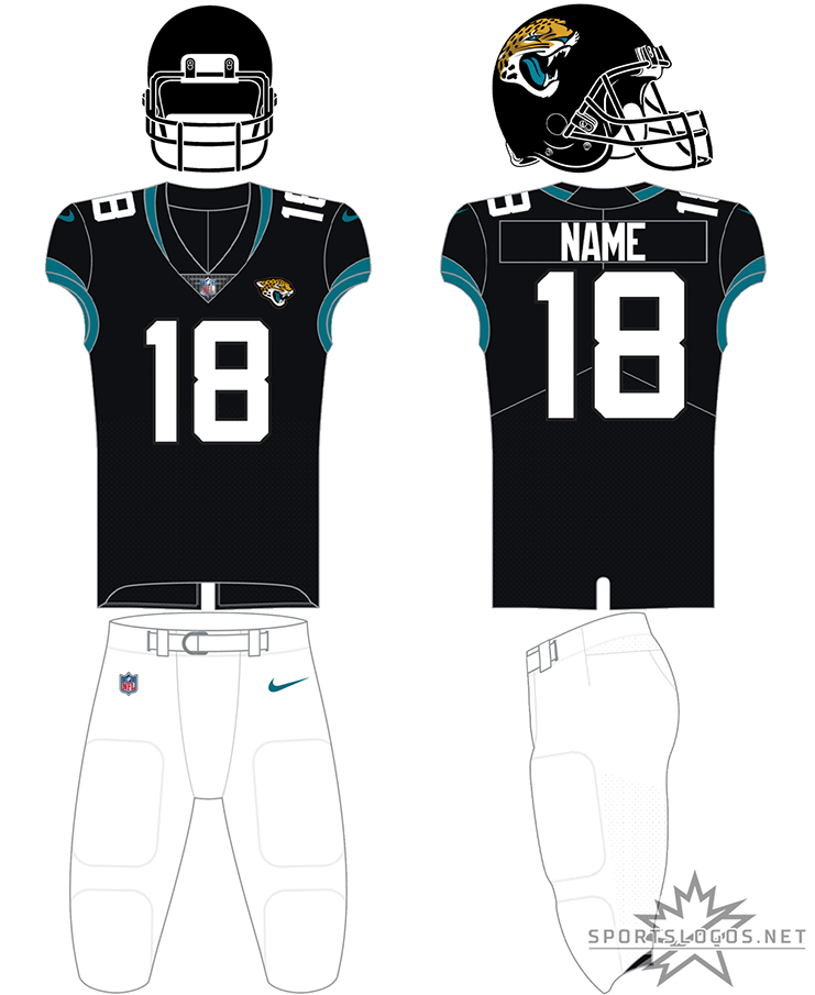 Jacksonville Jaguars Uniform Home Uniform (2019-Pres) - The Jackonsville Jaguars typically wear this simplified version of their previous set for home games. An all black helmet with a black jersey and white numbers with teal trim on the sleeves, shown here with white pants the uniform can, and frequently is, also worn with white or teal pants. SportsLogos.Net