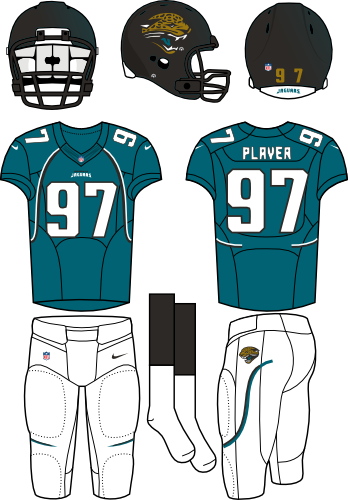 Jacksonville Jaguars Uniform Alternate Uniform (2012) - Black helmet with teal flake (primary logo on the sides) with teal jersey and white pants. Manufactured by Nike. SportsLogos.Net