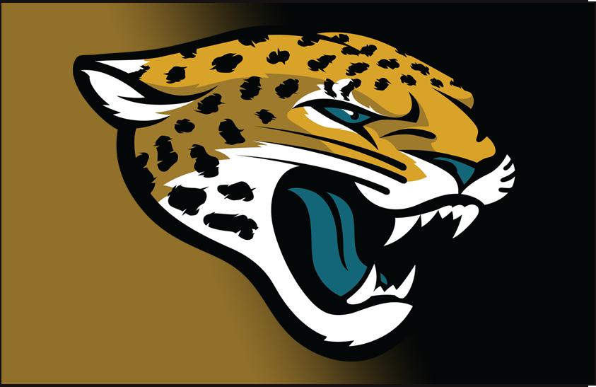 Jacksonville Jaguars Logo Helmet Logo (2013-2017) - Jaguars logo on a gold to black gradient, worn on Jaguars helmet from 2013 through 2017 SportsLogos.Net