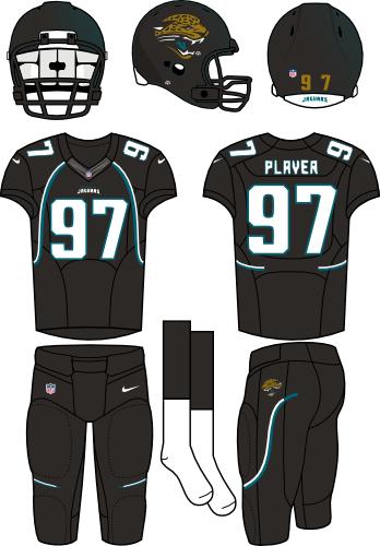 Jacksonville Jaguars Uniform Alternate Uniform (2012) - Black helmet with teal flake (primary logo on the sides) with black jersey and black pants. Manufactured by Nike. SportsLogos.Net