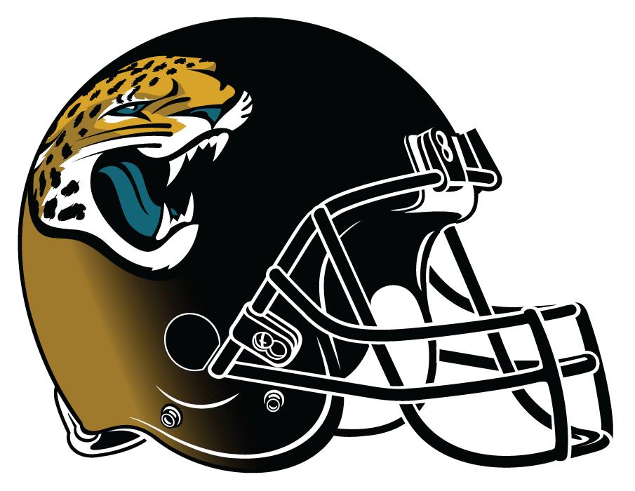 Jacksonville Jaguars Helmet Helmet (2013-2017) - Matte black and metallic gold helmet, gold and teal jaguar logo, black facemask SportsLogos.Net